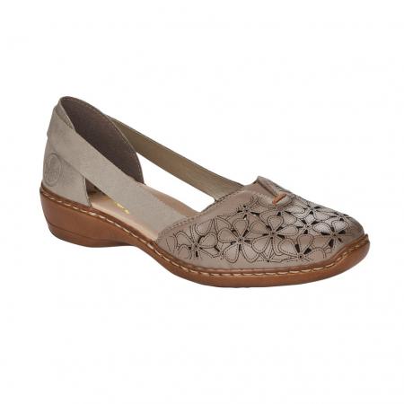 Pantofi de piele naturala Rieker 41356-64 Bej0