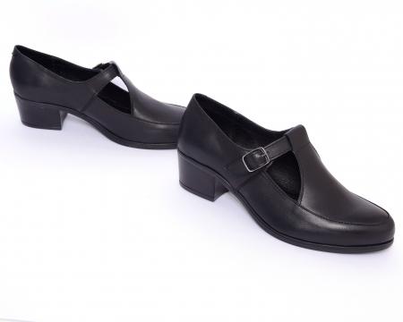 Pantofi din piele naturala 599 Negru1