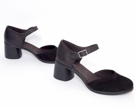 Pantofi din piele naturala 216 Negru2
