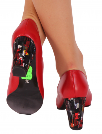 Pantofi din piele naturala 750 Timb Rosu B [2]