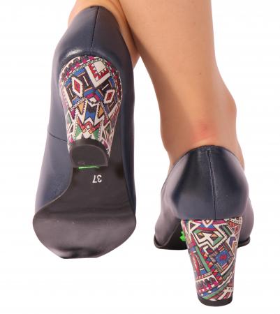 Pantofi din piele naturala 814 Timb bleumarin [2]