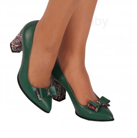 Pantofi din piele naturala 814 Timb Verde [0]