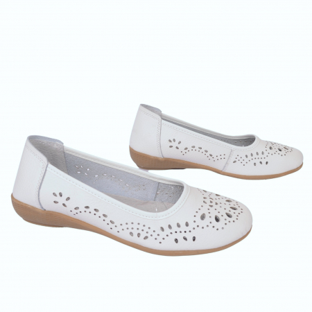 Pantofi din piele naturala B735684 WHITE2