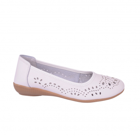 Pantofi din piele naturala B735684 WHITE1