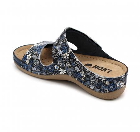 Papuci confortabili dama Leon 904 Albastru floral [2]