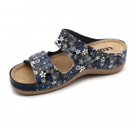 Papuci confortabili dama Leon 904 Albastru floral [3]