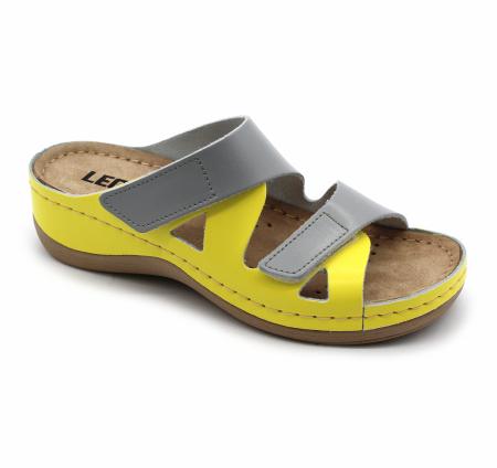 Papuci confortabili dama Leon 906 Gri cu Galben [0]