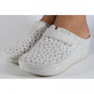 Papuci de casa Mubb din lana Albi-Argintii3