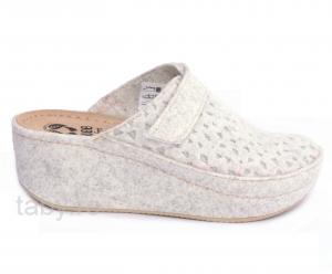 Papuci de casa Mubb din lana Albi-Argintii0