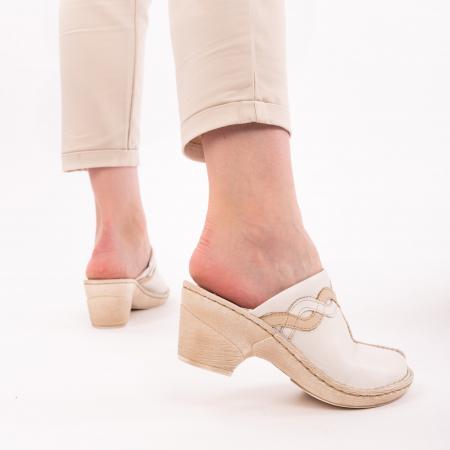 Papuci din piele naturala 202 alb [3]