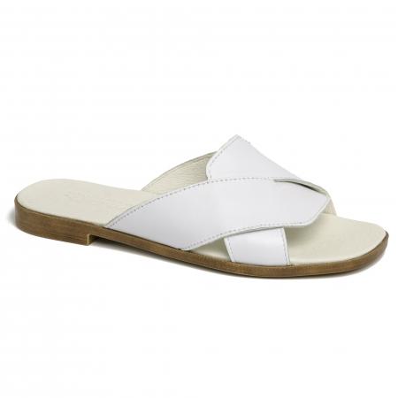 Papuci din piele naturala 270 Alb1