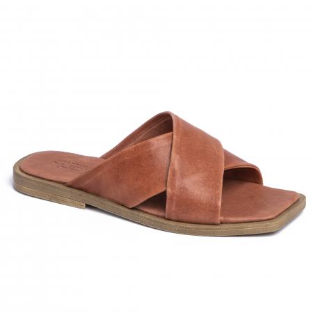 Papuci din piele naturala 268 Maro1