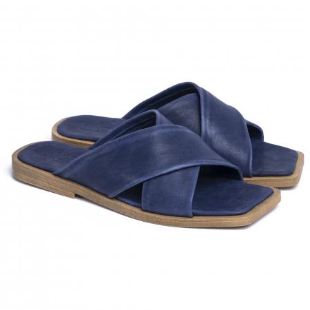 Papuci din piele naturala 268 Blu0