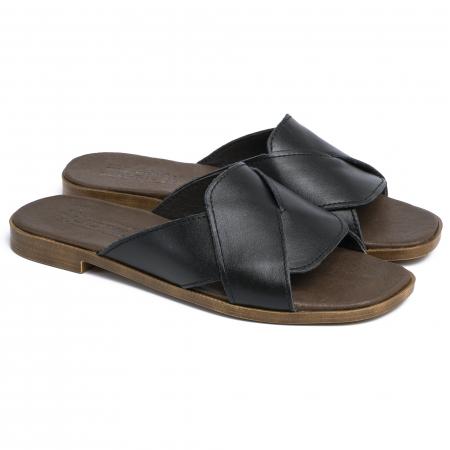 Papuci din piele naturala 270 Negru0