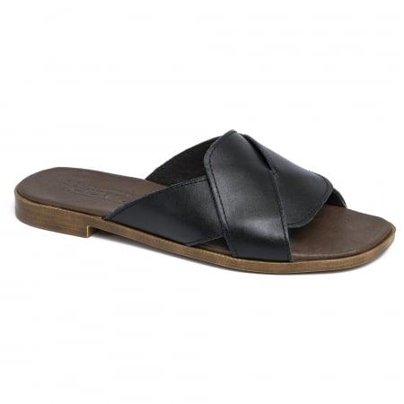 Papuci din piele naturala 270 Negru1