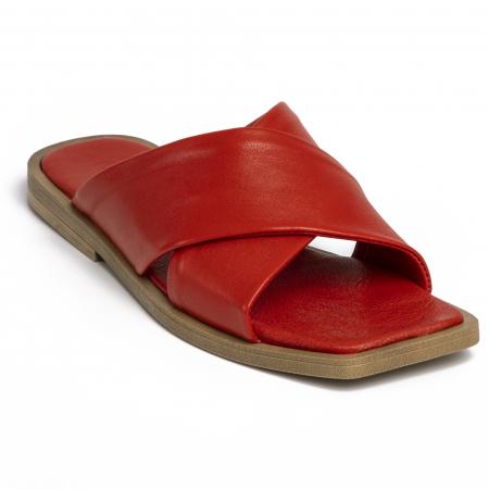 Papuci din piele naturala 268 Rosu2