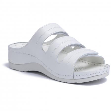 Papuci  din piele naturala 255 Alb [3]