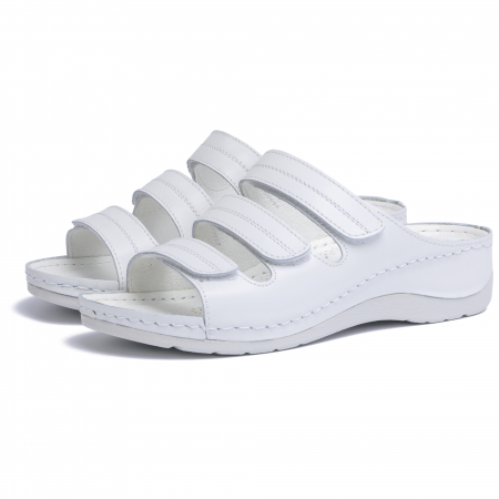 Papuci  din piele naturala 255 Alb [1]