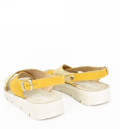 Sandale din piele naturala  FLY FLOT 169 Galben2