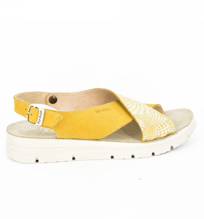 Sandale din piele naturala  FLY FLOT 169 Galben3