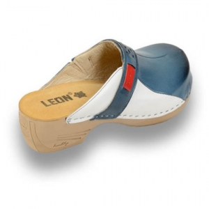 Saboti medicali dama - Leon 154 Albastru cu Alb3