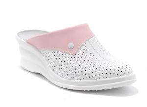 Saboti medicali piele 591 alb+roz0