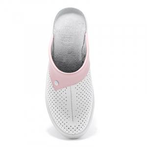 Saboti medicali piele 591 alb+roz1