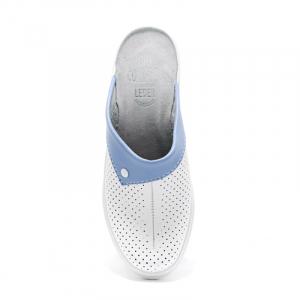 Saboti piele naturala 591 alb+albastru1