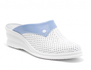 Saboti piele naturala 591 alb+albastru0