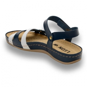 Sandale confortabile Leon 961 Albastru-Alb2