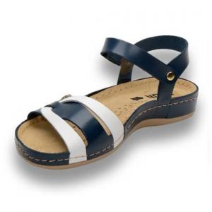 Sandale confortabile Leon 961 Albastru-Alb1