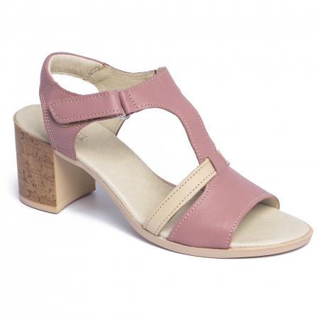 Sandale din piele naturala 260 Roz0