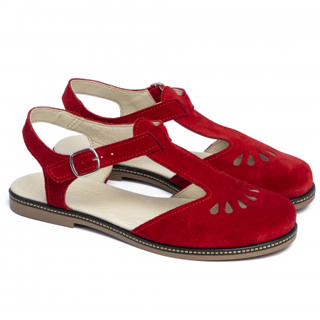 Sandale din piele naturala 281 Rosu Velur1