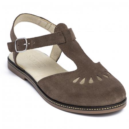 Sandale din piele naturala 281 Maro Velur [2]