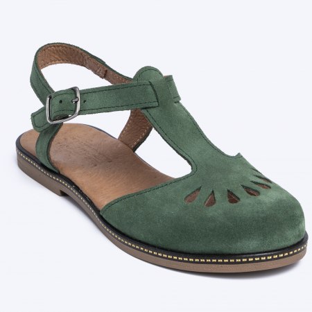 Sandale din piele naturala 281 Verde Velur2