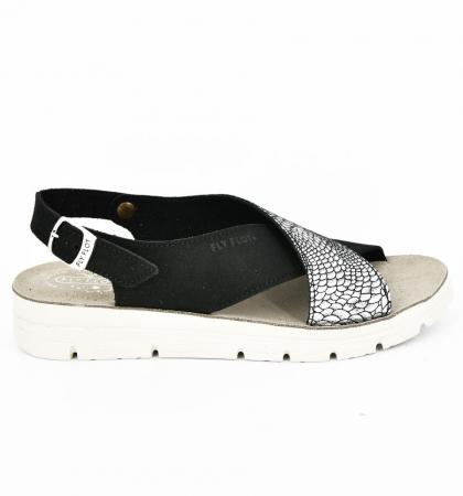 Sandale din piele naturala  FLY FLOT 169 Negru [2]
