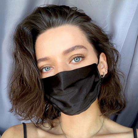 Masca protectie fata din matase - Negru [2]