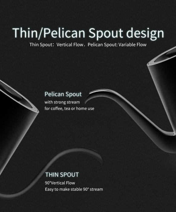 "Kettle electric ""Pelican Spout"" standard timemore 6"
