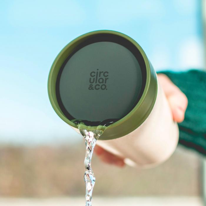 Circular & Co Pahar refolosibil ecologic - crem & verde 12oz 2