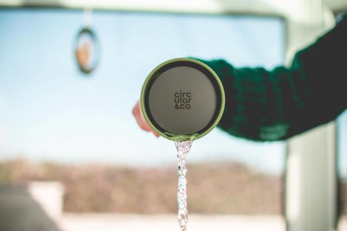 Circular & Co Pahar refolosibil ecologic - crem & verde 12oz 3