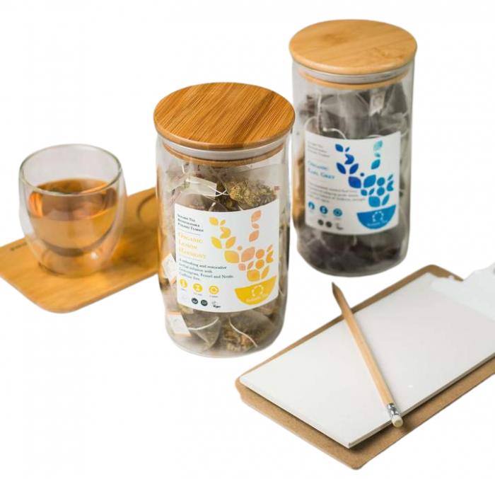 Recipient sticlă cu capac din bambus - Solaris 0