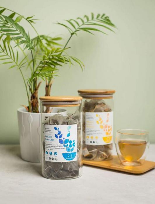 Recipient sticlă cu capac din bambus - Solaris 2