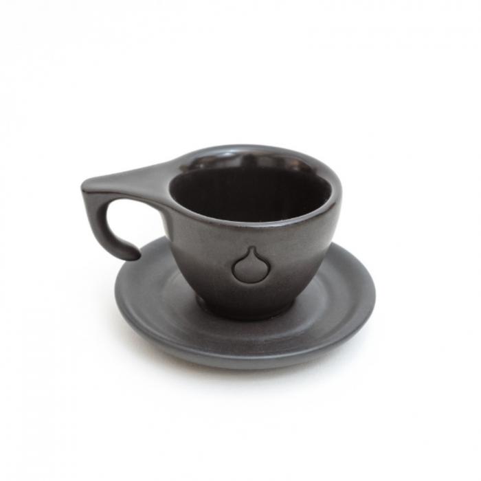 Set Ceasca si Farfurie Espresso Dropshot Negru Mat [0]