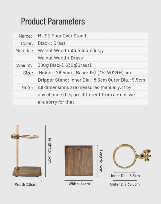 Suport negru pentru dripper din alama + lemn Timemore [2]