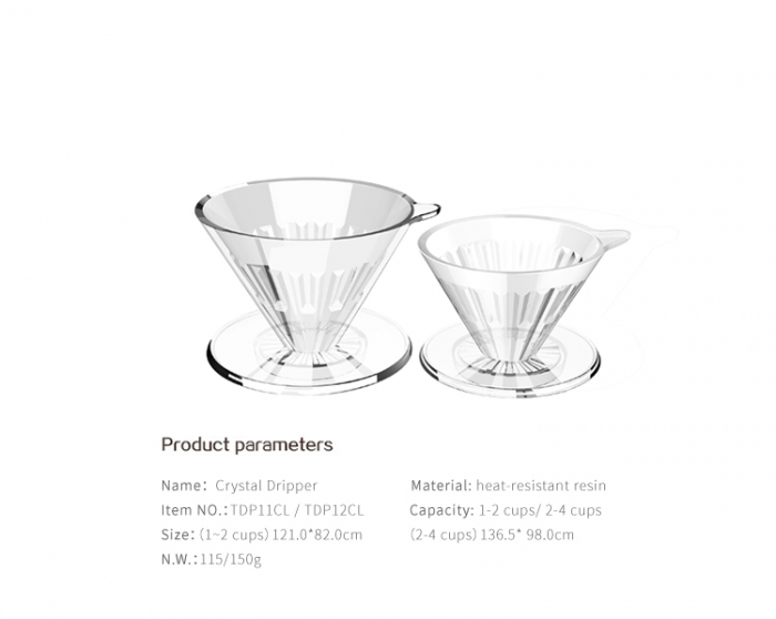 "Dripper plastic rezistent  ""Crystal Eye PC"" Timemore 16"