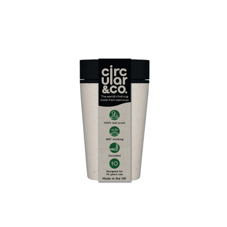 Circular & Co Pahar refolosibil ecologic - crem & negru 8oz0
