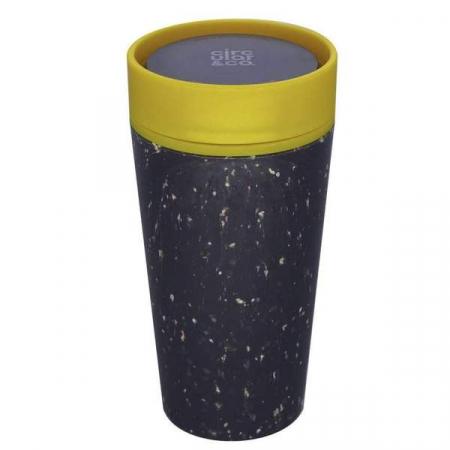 Circular & Co Pahar refolosibil ecologic - negru & mustar 12oz10
