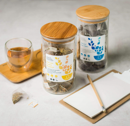 Recipient sticlă cu capac din bambus - Solaris4