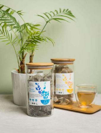 Recipient sticlă cu capac din bambus - Solaris2