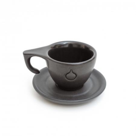 Set Ceasca si Farfurie Espresso Dropshot Negru Mat [3]